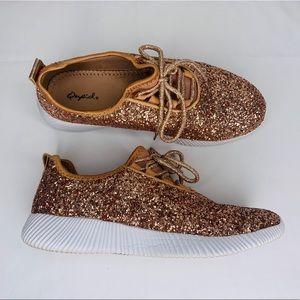 Qupid Rose Gold Glitter Sneakers 9